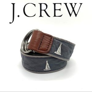 J Crew Canvas Nautical Sailboat Belt L/XL